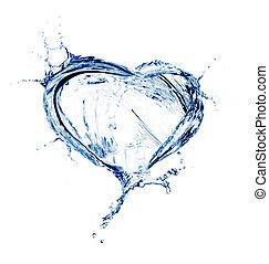 hjärta, från, vatten, plaska