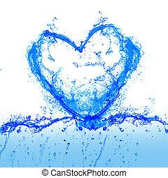 hjärta, från, vatten