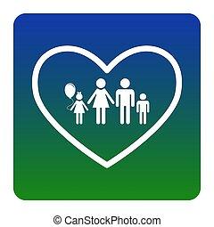 hjärta, fyrkant, green-blue, familj, bakgrund., lutning, hörnen, form., illustration, underteckna, isolated., vector., rundat, vit, ikon