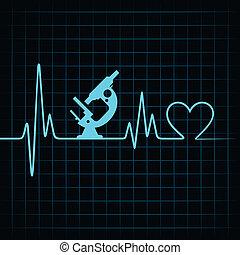hjärta, göra, hjärtslag, mikroskop, &