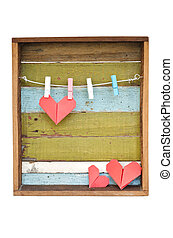 hjärta, gammal, clothesline., bakgrund., ved, papper, hängande