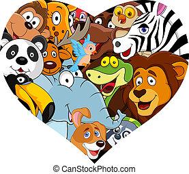 hjärta gestalta, djur