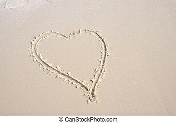 hjärta gestalta, in, florida, strand sandpappra