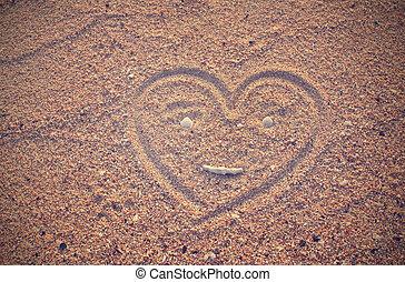 hjärta gestalta, oavgjord, på, strand sandpappra