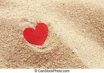 hjärta gestalta, på, sand