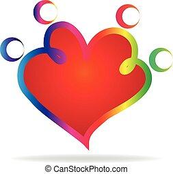 hjärta gestalta, skissera, familj, logo