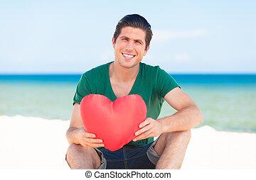 hjärta gestalta, strand, man