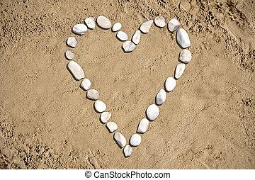 hjärta gestalta, -, strand, sand, stenar