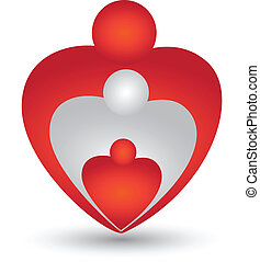 hjärta gestalta, vektor, familj, logo