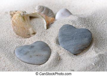 hjärta gestaltade, kiselstenar