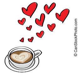 hjärta gestaltade, klotter, valentinbrev, illustrationer, latte., begreppen, datering