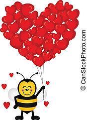 hjärta gestaltade, sväller, bi, söt