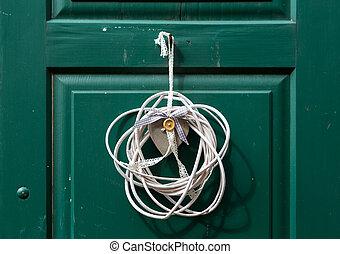 hjärta gestaltade, vävt, dekoration, på, dörr