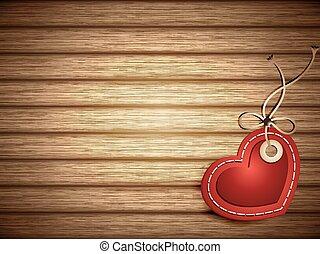 hjärta gestaltade, ved, etikett, papper, röd