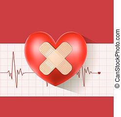 hjärta, gips, kardiogram