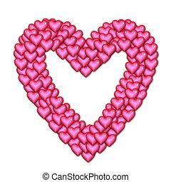 hjärta, gjord, av, hjärtan, rosa