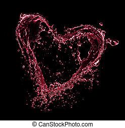 hjärta, gjord, balck, flytande, symbol, isolerat, stänk, bakgrund