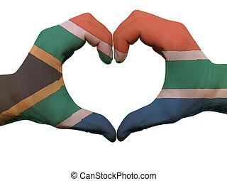 hjärta, gjord, färgad, kärlek, visande, afrika, isolerat,...