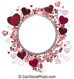 hjärta, gjord, ram, formar, kontur, röd
