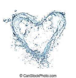 hjärta, gjord, symbol, isolerat, vatten, stänk, bakgrund,...