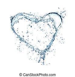 hjärta, gjord, symbol, isolerat, vatten, stänk, bakgrund, vit