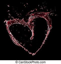 hjärta, gjord, symbol, isolerat, vatten, stänk, svart fond