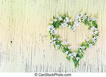hjärta, gjord, trä, symbol, bakgrund., blomningen