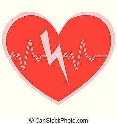 hjärta, glädjande, kardiogram