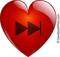 hjärta, glasaktig