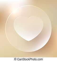hjärta, glasaktig, ikon