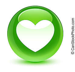 hjärta, glasaktig, knapp, grön, runda, ikon