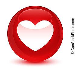 hjärta, glasaktig, knapp, runda, röd, ikon