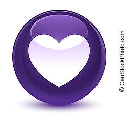 hjärta, glasaktig, purpur, knapp, runda, ikon