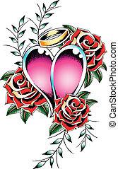 hjärta, gotisk, emblem, tatuera