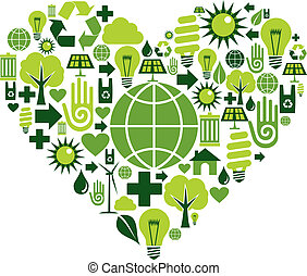 hjärta, grön, miljöbetingad, ikonen