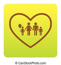 hjärta, green-yellow, fyrkant, rundat, familj, brun, lutning, hörnen, form., illustration, underteckna, isolated., bakgrund., vector., vit, ikon