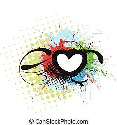hjärta, grunge, bakgrund