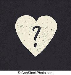 hjärta, grunge, fråga, form., märke, designa