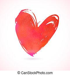 hjärta, grunge, målad, hand, vektor, kort