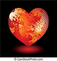 hjärta, grunge, splat