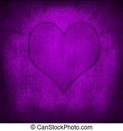 hjärta, grunge, valentinkort, purpur, retro, bakgrund,...