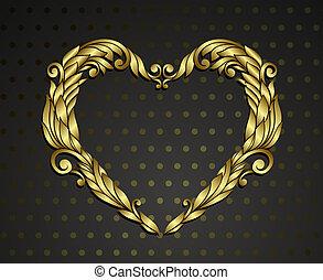 hjärta, guld, rnamental