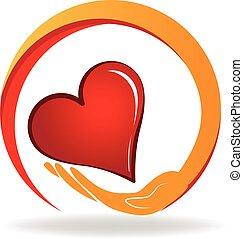 hjärta, hålla lämna, logo