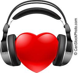 hjärta, hörlurar, röd