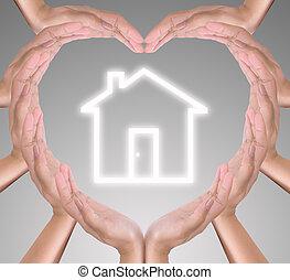 hjärta, hand, ikon, hus