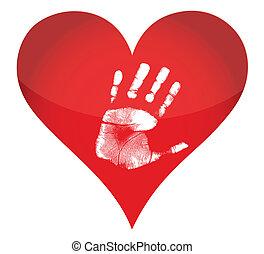 hjärta, handprint, illustration