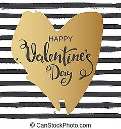 hjärta, heart., guld, valentinkort, hand, bakgrund., oavgjord, randig, dag, kort