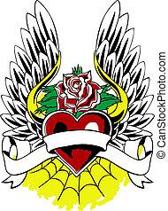 hjärta, heraldisk, emblem, vinge, tatuera