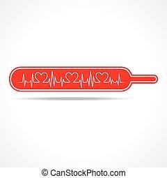 hjärta, hjärtslag, göra, termometer