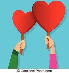 hjärta, holdingen, signs., räcker